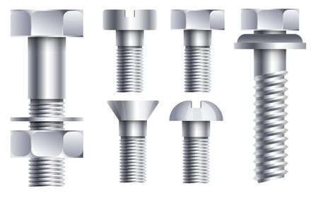 Hex head bolt and nut, side view. Socket cap screw, metal, shiny hardware parts set in stainless steel or chrome, close up. Isolated realistic graphic vector illustration on white background. 写真素材 - 137774051