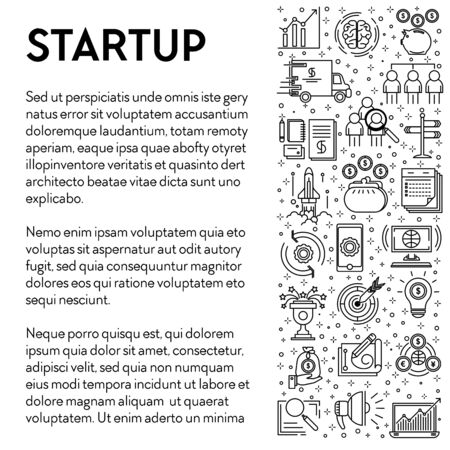 Business creative project or startup line icons poster