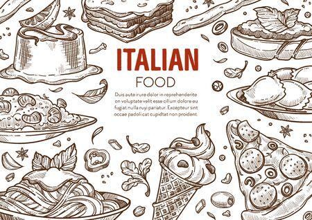 Pasta and pizza, Italian cuisine dishes, Italy restaurant menu Vetores