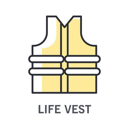 Swimming life vest or jacket isolated icon, protective wear Vectores
