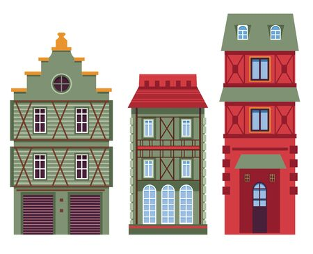 Retro architecture, houses or buildings, classic facades design Vector Illustratie
