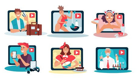 Vlogs and blogs, bloggers isolated icons, video content Ilustracja