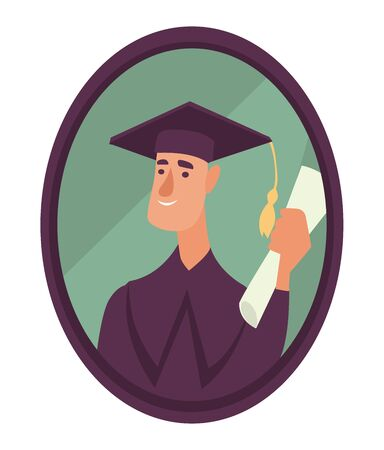 Student in academic hat with diploma photo in frame, isolated icon