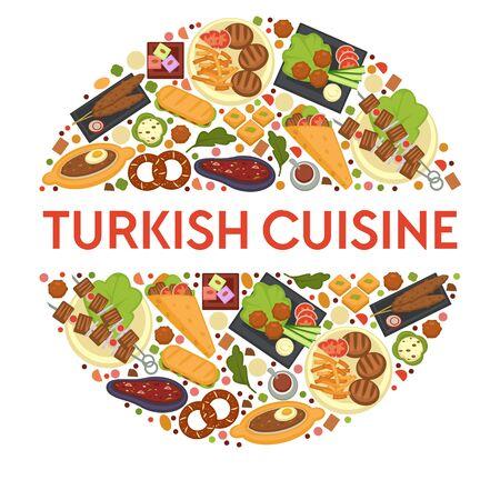 Turkish cuisine dishes, restaurant menu, food of Turkey