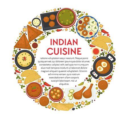 Indian cuisine restaurant menu, traditional food of India Çizim
