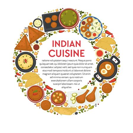 Indian cuisine restaurant menu, traditional food of India Illustration