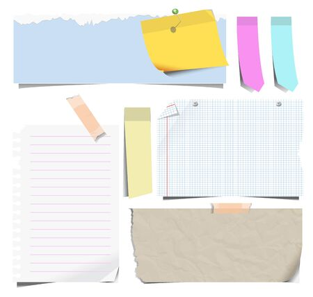 Notebook sheets or note papers and bookmarks isolated icons 向量圖像