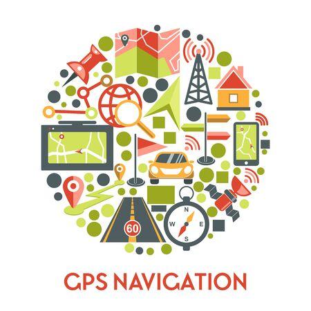 GPS navigation banner with navigator app icons set in circle Zdjęcie Seryjne - 138023105