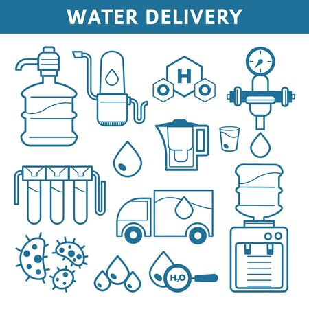 Shipping and transportation, water delivery isolated outline icons