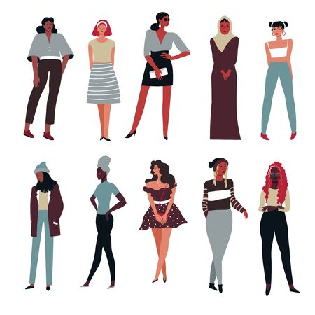 Women of international races, isolated female characters, girls