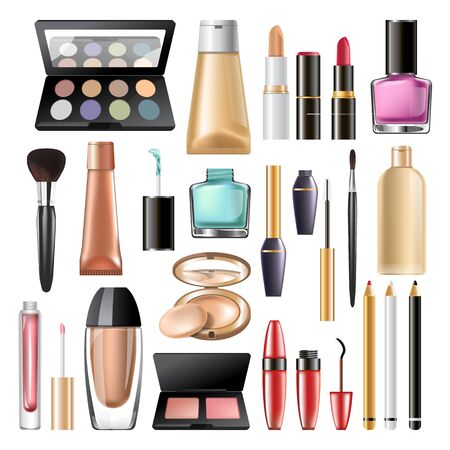 Decorative cosmetics and makeup products mock up packages set