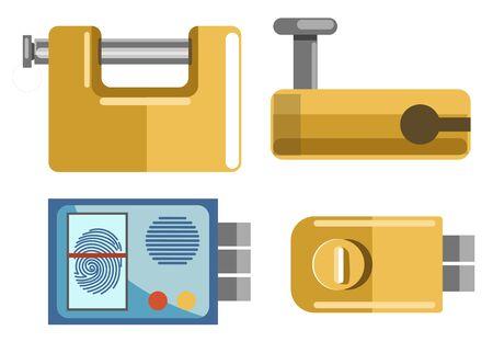Locks and padlocks isolated icons, fingerprint access system