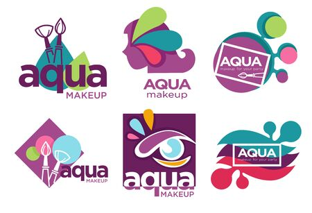Natural cosmetics, aqua makeup isolated icons, beauty salon