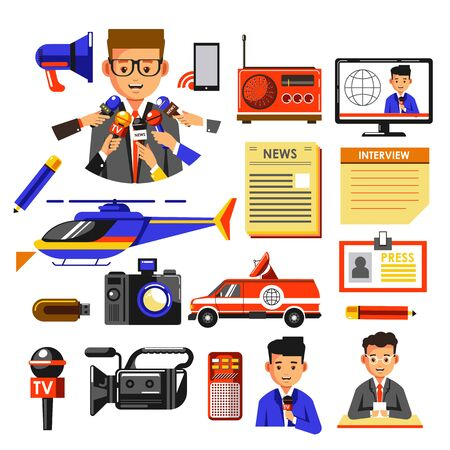 News broadcasting or press and media icons collection