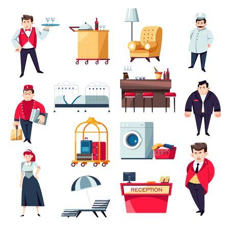 Concept de services hôteliers et collection d'icônes du personnel Vecteurs