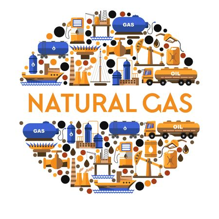 Natural gas isolated icon or banner, station and mining equipment