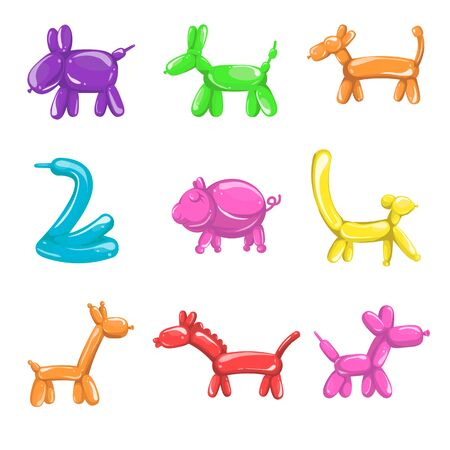 Balloons in animals shapes, children birthday party isolated icons
