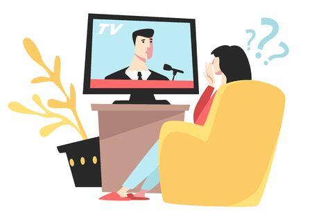 Fille regardant les informations télévisées dans le stress, femme dans un fauteuil
