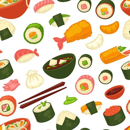Sushi and noodles, Japanese cuisine seamless pattern, ginger and wasabi Stock fotó - 138262480