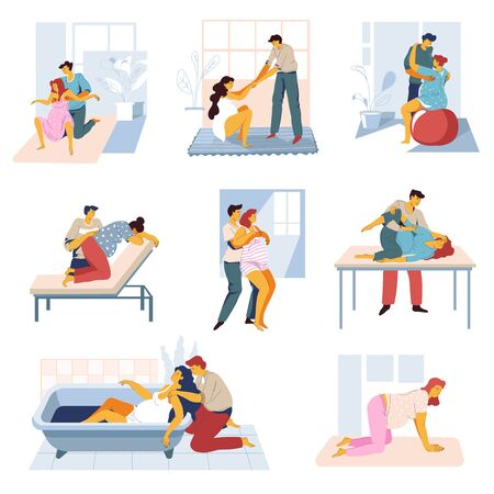 Preparing for childbirth, pregnant woman and man exercising before giving birth isolated icons vector. Pregnancy courses, partners in hospital or gym and bath. Husband and wife on yoga and home Ilustração