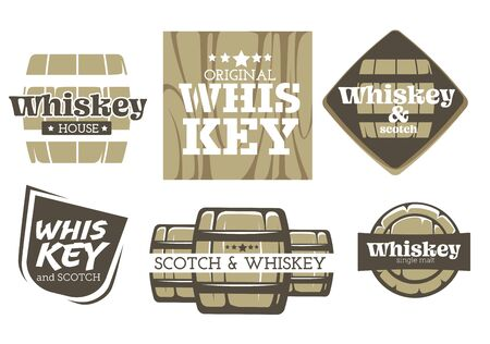 Whiskey drink isolated icons, factory or alcohol drink production