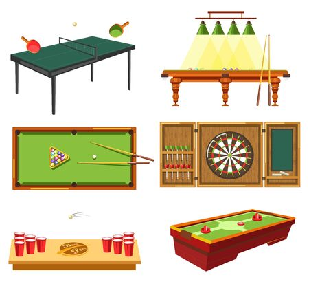 Table games concept and different sporting equipment