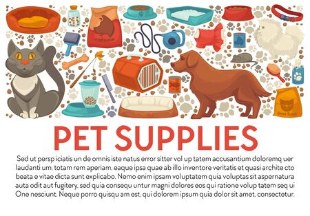 Pet supplies banner template with dog and cat care accessories Ilustracja