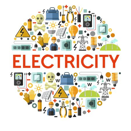 Electricity icons on banner, electrician tools and energy generation Banco de Imagens - 138532452