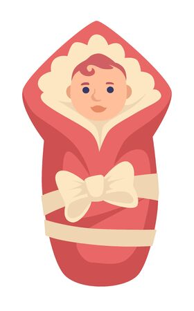 Newborn baby girl in wrap with bow. Baby shower, cream ribbon red warm blanket, cute redhead child, infant. Childhood, birth celebration isolated graphic vector illustration on white background.