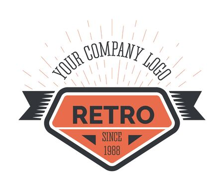 Retro company logo template, emblem in vintage style. Business brand badge of orange, black colors and burst effect thin minimal lines. Isolated graphic vector illustration on white background. Ilustrace