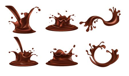 Chocolate splashes set. Cocoa drink, coffee, brown thick liquid splashing, pouring, spill, in motion. Realistic design beverage drops, swirl, mock up for product advertising and marketing. Vector.