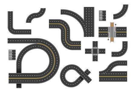 Krzywe drogowe, zestaw skrętów na autostradzie, widok z góry. Zakręty dróg, skrzyżowanie ulic, zawracanie. Kolekcja elementów krętych asfaltowych tras żużlowych. Graficzna ilustracja wektorowa na białym tle.