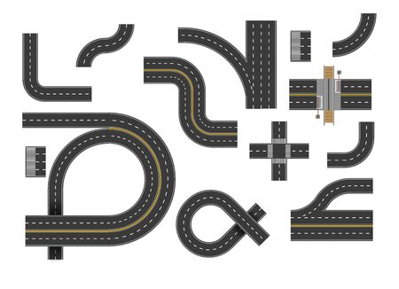 Road curves, highway turn set, top view. Bending roads, street intersection, U-turn. Curved asphalt speedway route elements collection. Graphic vector illustration on white background. Ilustração