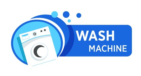 Washing machine logo with text. White appliance to wash laundry in blue frame, water bubbles. Electronic appliances marketing tag and cleaning service company. Vector illustration on white background.