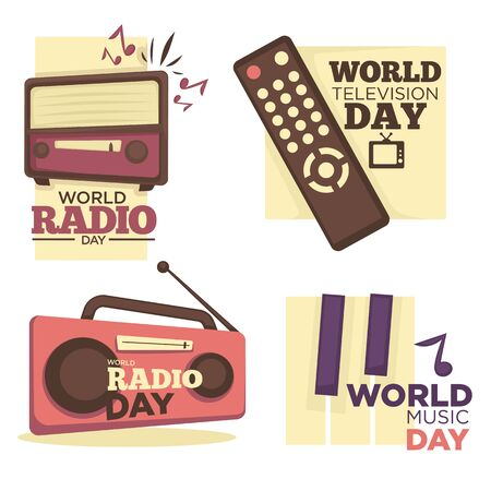 World radio, music and television day logo set. Vintage FM receiver, retro tuner, super bass speaker, piano keys, musical note. TV remote control for channel switch. Media, entertainment vector.