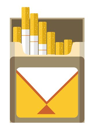 Cigarette pack box open, front view. Package full of filtered tobacco cigarettes, nicotine. Smoking themed isolated colorful graphic vector illustration on white background.