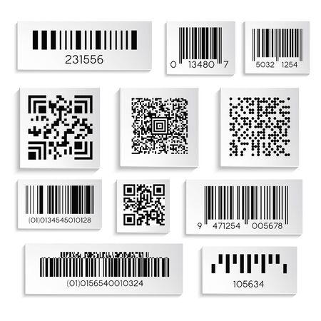Etiqueta de productos con cifrado o número de serie o códigos de barras vector de iconos aislados. Código de escaneo de supermercado, barras y codificación qr, elemento de etiqueta de precio. Etiquetas negras y ocultan información o datos industriales