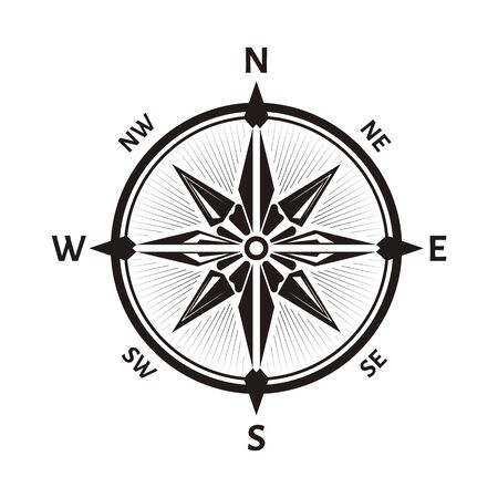 Compass wind rose icon of round navigational device Vettoriali