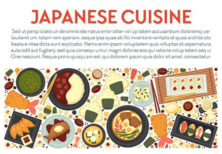 Japanese cuisine menu banner, food of Japan and seafood