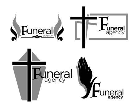 Burial and funeral agency isolated icons, interment arrangement