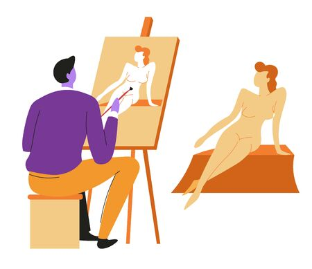 Artist or painter and naked female model, canvas on easel 일러스트