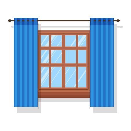 Blue curtain panels with curtain panels hanging on rod Illusztráció