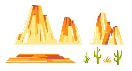 Landscape constructor set with yellow rock formations and cactus plants Vectores