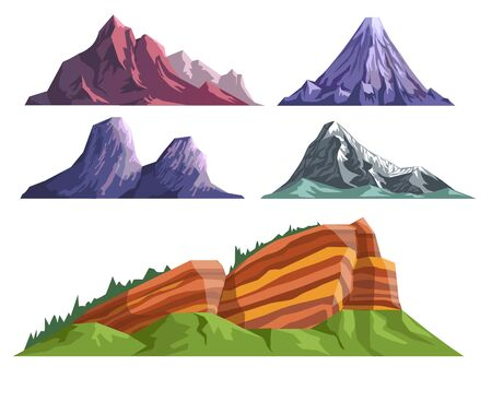 Landscape constructor set with various mountains and sleeping volcano