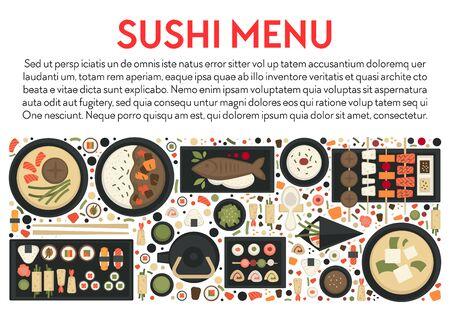 Sushi menu and Japanese food banner, seafood and green tea