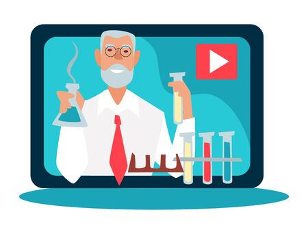 Science blogger and scientific video blog, isolated icon