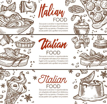 Pasta and pizza, Italian cuisine menu, Italy food dishes