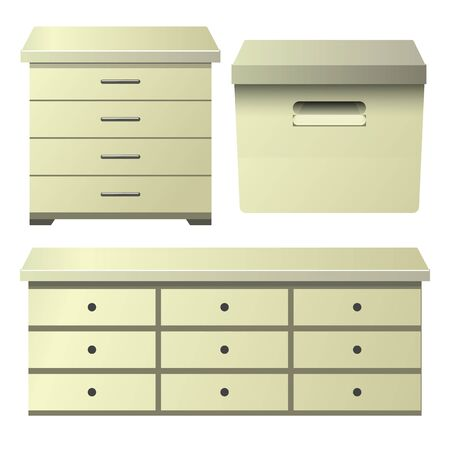 Cream drawer dresser with bedside night stand and storage box 矢量图像