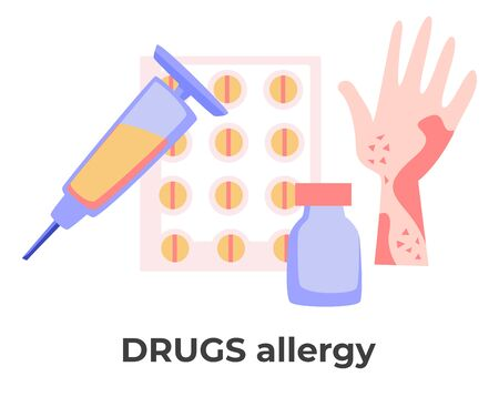 Drugs allergy, skin rash or allergic reaction to pills and injections Ilustração