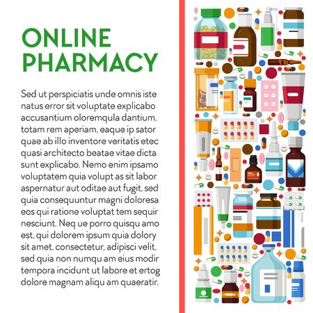 Online pharmacy banner with medication packages colorful icons and text